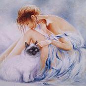 Картины и панно handmade. Livemaster - original item Oil painting Girl with cat. Handmade.