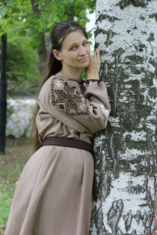 """Платья ручной работы. Ярмарка Мастеров - ручная работа. Купить Платье """"Какао с вышивкой-вырезывание"""". Handmade. Комбинированный, одежда из льна"""