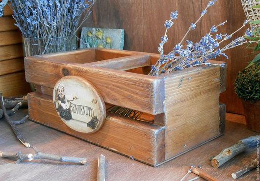 Деревянный короб из массива сосны. Короб для кухни в стиле кантри,Прованс,итальянском стиле. Короб для специй и масла. Состаренное дерево,массив сосны. `LedaksDecor` -для уютного дома!