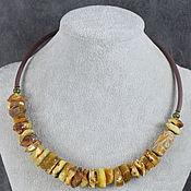 Украшения handmade. Livemaster - original item Natural Amber and JI 3 Eyes Necklace with Rubber Cord. Handmade.
