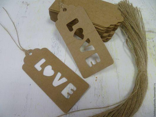 Упаковка ручной работы. Ярмарка Мастеров - ручная работа. Купить Теги LOVE  крафт 9х4 см  (10 штук ). Handmade.