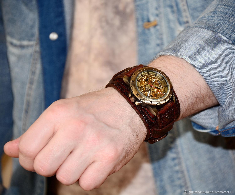 Часы скелетоны . Стимпанк. Механические часы, Часы наручные, Москва,  Фото №1