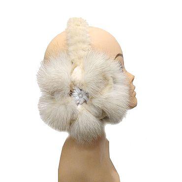 Accessories. Livemaster - original item White earmuffs made of natural Fox, beaver and mink fur. Handmade.