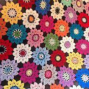 """Для дома и интерьера ручной работы. Ярмарка Мастеров - ручная работа Плед """"Цветочный  блюз"""". Handmade."""