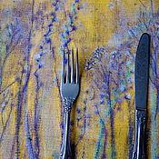 """Для дома и интерьера ручной работы. Ярмарка Мастеров - ручная работа Комплект столовый  - 6 салфеток и дорожка на стол лён """"Травы луговые""""2. Handmade."""