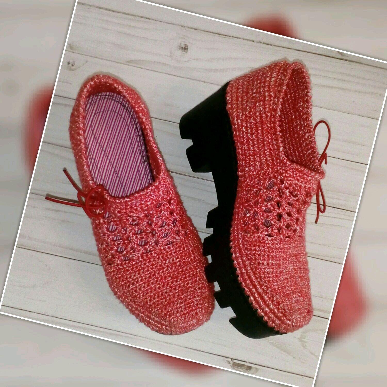 вязаные туфельки обувь вязаная на заказ цвет красный купить в