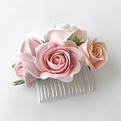 Свадебный салон handmade. Livemaster - original item Comb with a delicate powdery rose in the hair of the bride Polymer clay. Handmade.