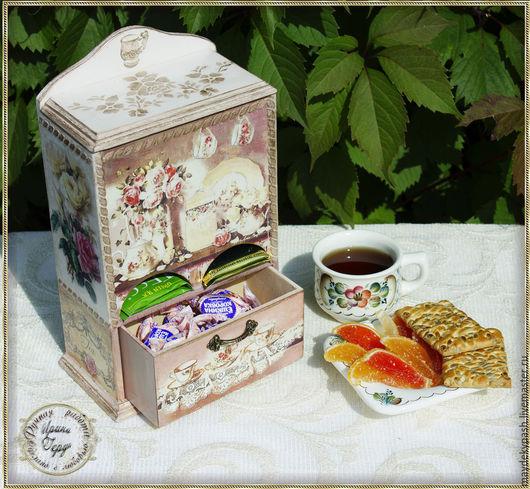 Кухня ручной работы. Ярмарка Мастеров - ручная работа. Купить Буфет для чайных пакетиков. Handmade. Бежевый, розы