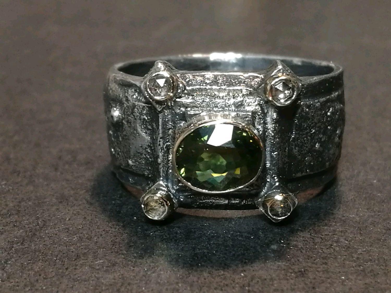 Кольцо с турмалином и алмазами, Кольца, Москва,  Фото №1