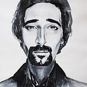 Pictures handmade. Livemaster - original item Watercolour pattern Actor Adrian Brody. Handmade.
