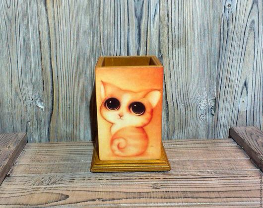 """Карандашницы ручной работы. Ярмарка Мастеров - ручная работа. Купить Карандашница """"Милые глазки"""". Handmade. Карандашница, карандашница из дерева, рыжий"""