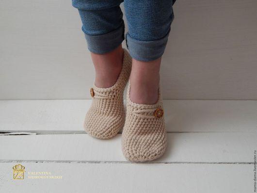 """Обувь ручной работы. Ярмарка Мастеров - ручная работа. Купить """" Эльза """" следки вязаные. Handmade. Бежевый"""