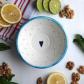 """Посуда ручной работы. Ярмарка Мастеров - ручная работа Мисочка """"Морская"""" голубо-белая. Handmade."""