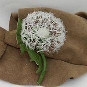 Украшения handmade. Livemaster - original item Brooch Dandelion leather. Handmade.