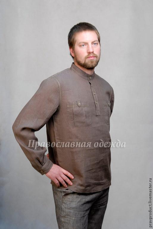 Для мужчин, ручной работы. Ярмарка Мастеров - ручная работа. Купить Мужская рубаха из льна, цвет 821 оливковый. Handmade.