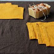 Для дома и интерьера handmade. Livemaster - original item Set of chocolate path and 6 mustard colored napkins. Handmade.