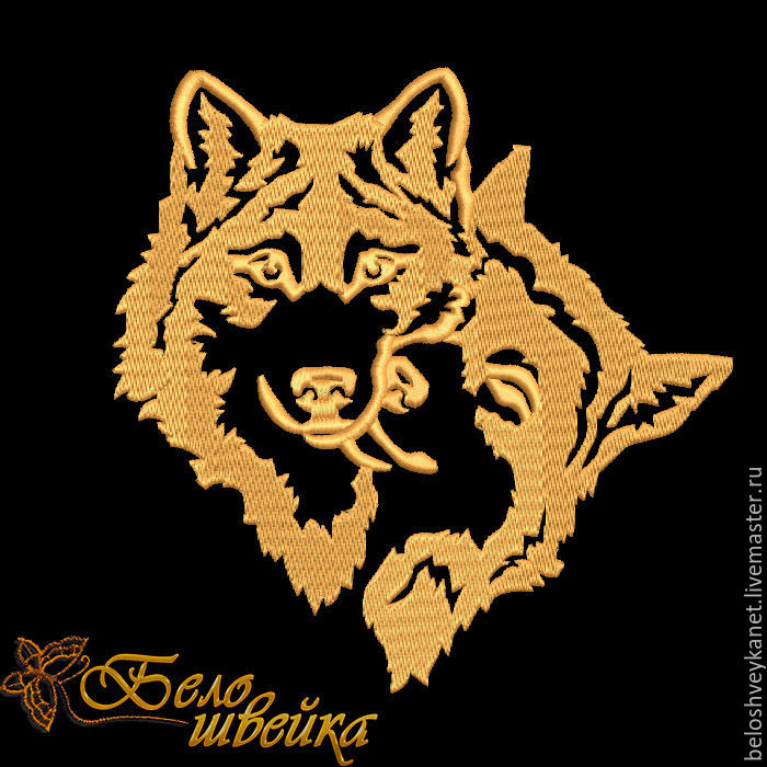 Дизайн для вышивки волки