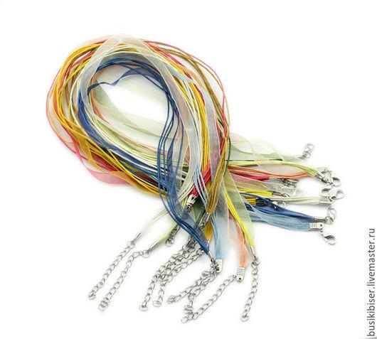Для украшений ручной работы. Ярмарка Мастеров - ручная работа. Купить Вощёный шнур с органзой разных расцветок 43 см.. Handmade.