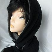 Аксессуары handmade. Livemaster - original item Hood scarf double, two-tone black and gray wool blend. Handmade.