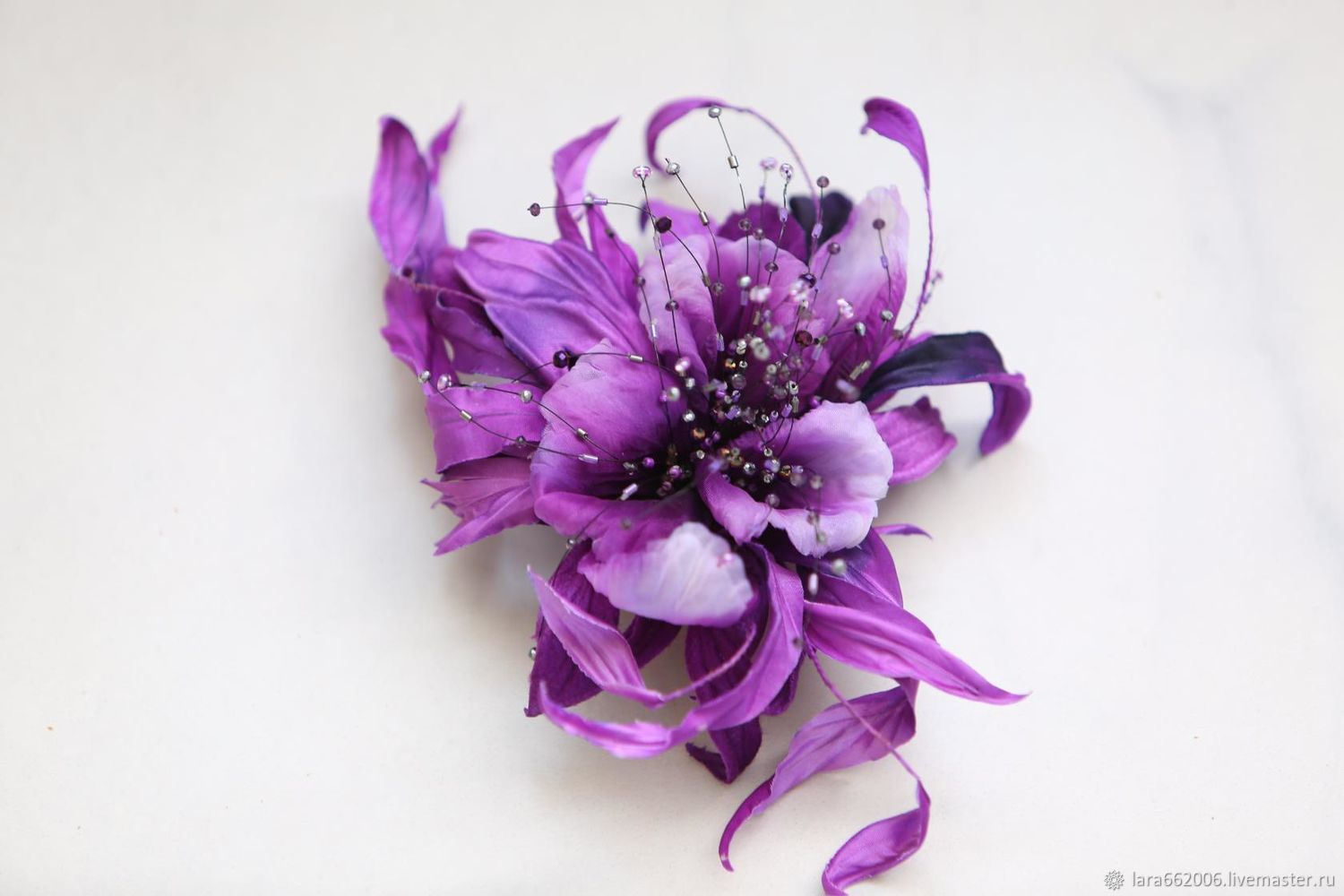 Silk flowers brooch decoration fancy orchid gloria shop online fancy orchid gloria silk handmade orchid is made of silklavender purple orchid mightylinksfo