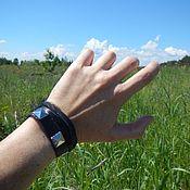 Украшения handmade. Livemaster - original item Black leather bracelet winding Squares and pigtail. Handmade.