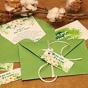 """Свадебный салон ручной работы. Ярмарка Мастеров - ручная работа """"Весенние"""" приглашения в конверте акварель. Handmade."""