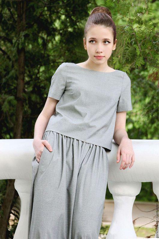 Блузки ручной работы. Ярмарка Мастеров - ручная работа. Купить Блуза из крепдешина. Handmade. Чёрно-белый, дизайнерская одежда