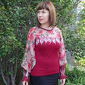 Одежда ручной работы. Ярмарка Мастеров - ручная работа Блуза Андалузия-2 комбинированная вязано-валяная. Handmade.