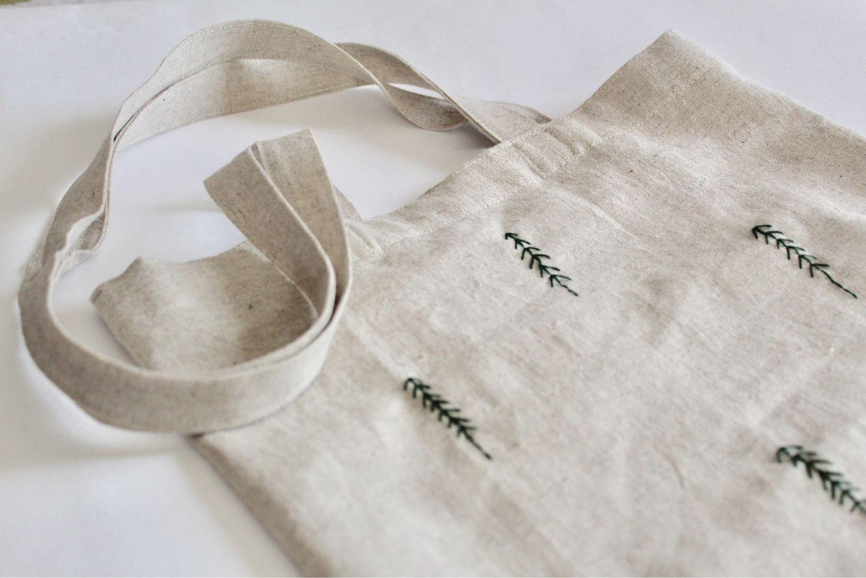 Льняная сумка для продуктов с кармашком (эко состав)