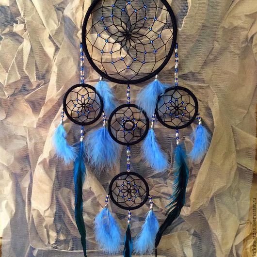 Подвески ручной работы. Ярмарка Мастеров - ручная работа. Купить Ловец снов - Хильдеин Синий (80 см). Handmade. Голубой