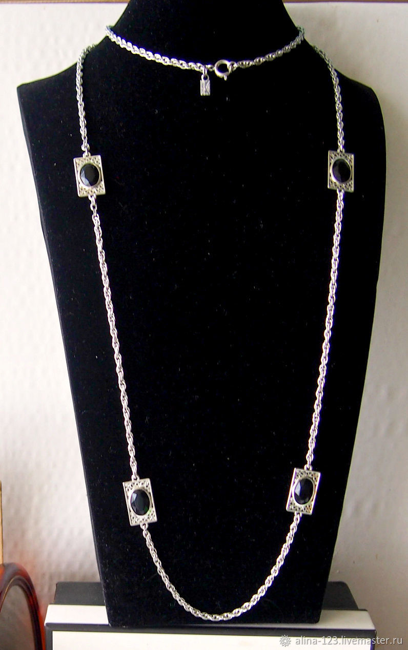 Necklace chain with beads bezel from Emmons, Vintage necklace, Obninsk,  Фото №1