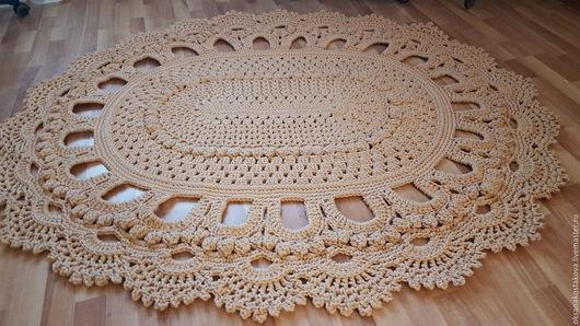 Текстиль, ковры ручной работы. Ярмарка Мастеров - ручная работа. Купить Ковер из полиэфирного шнура. Handmade. Бежевый, ковер, крючок
