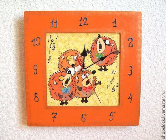 Часы для дома ручной работы. Ярмарка Мастеров - ручная работа. Купить Часы настенные Ёжики, часы ручной работы, детские. Handmade.