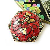 Материалы для творчества handmade. Livemaster - original item Pendant Indonesia large hexagon 71h55mm. Handmade.