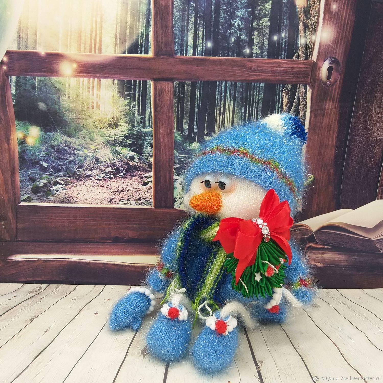 Снеговик.Вязаный снеговик.Снеговик спицами, Мягкие игрушки, Волгоград,  Фото №1