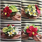 Цветы и флористика ручной работы. Ярмарка Мастеров - ручная работа Тропические цветы к настоящем кокосе. Handmade.