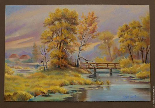 Пейзаж ручной работы. Ярмарка Мастеров - ручная работа. Купить Осенний пейзаж (40х60см графика). Handmade. Комбинированный, осень