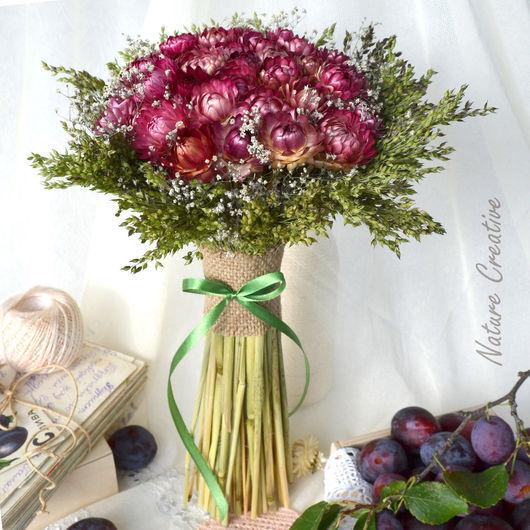 Букеты ручной работы. Ярмарка Мастеров - ручная работа. Купить Букет  из сухоцветов «Сливовый». Handmade. Бордовый, подарок девушке, цветы