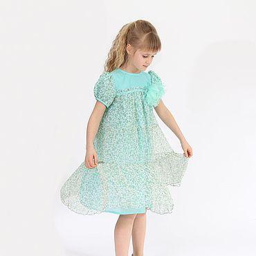 Работы для детей, ручной работы. Ярмарка Мастеров - ручная работа Легкое нарядное платье из шелкового шифона  для девочки на рост 140. Handmade.
