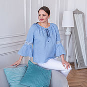 Одежда handmade. Livemaster - original item Linen blouse with lace and lace-up blue. Handmade.