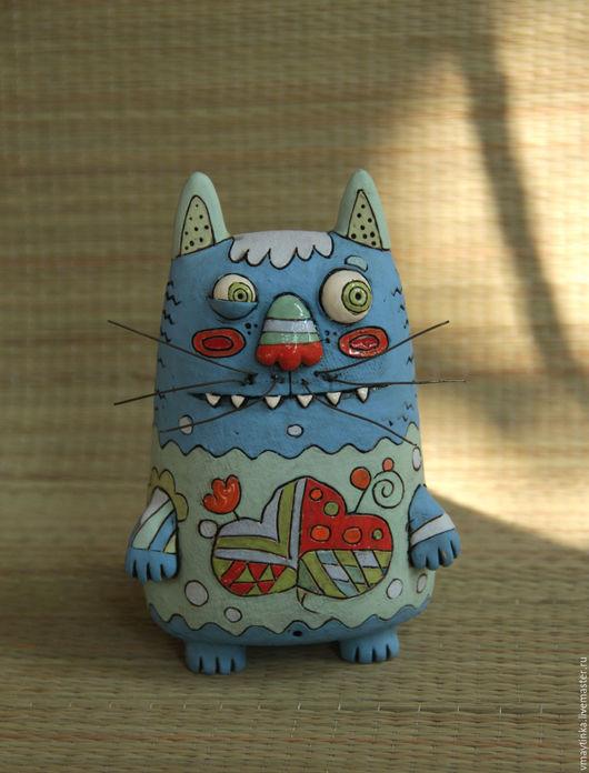 Статуэтки ручной работы. Ярмарка Мастеров - ручная работа. Купить Кот. Handmade. Глиняная игрушка, для интерьера, смешной, керамика, ангобы