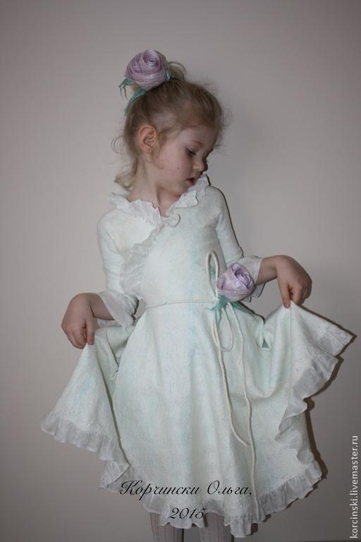 Одежда для девочек, ручной работы. Ярмарка Мастеров - ручная работа. Купить Платье валяное детское Герда. Handmade. Белый