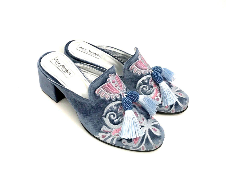 """Обувь ручной работы. Ярмарка Мастеров - ручная работа. Купить Мюли """"Восточная сказка» - голубые на каблуке. Handmade. Цветы, восток"""