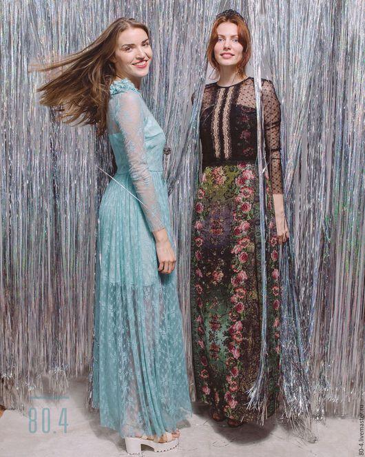 Платья ручной работы. Ярмарка Мастеров - ручная работа. Купить Нарядное бирюзовое длинное платье. Handmade. Тёмно-бирюзовый, кружево