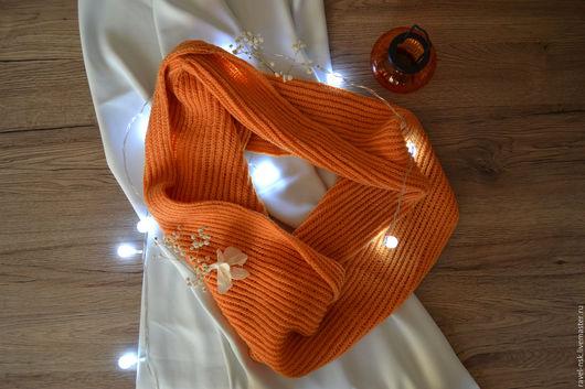 Шарфы и шарфики ручной работы. Ярмарка Мастеров - ручная работа. Купить Снуд. Handmade. Оранжевый, однотонный, 100% шерсть