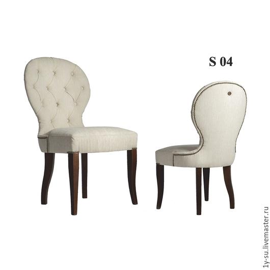 Дизайнерский стул S04 с гвоздиками и каретной стяжкой в стиле капитоне