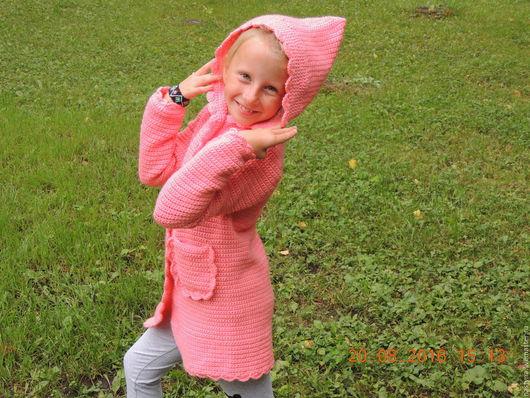 Одежда для девочек, ручной работы. Ярмарка Мастеров - ручная работа. Купить Скидка 20% Пальто-кардиган для девочки. Handmade. Розовый