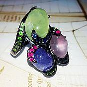 Украшения handmade. Livemaster - original item Three wishes ring with tanzanite, prenite and pink kvar. Handmade.
