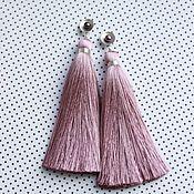 Украшения handmade. Livemaster - original item Long rose Ash brush earrings, silk brushes, brushes. Handmade.
