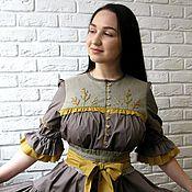 Одежда ручной работы. Ярмарка Мастеров - ручная работа Платье летнее из хлопка с вышивкой. Handmade.